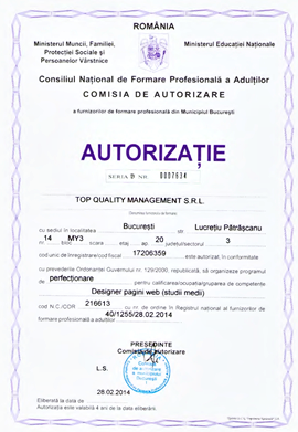 Cursuri Web Design autorizate ANC la Top Quality Management