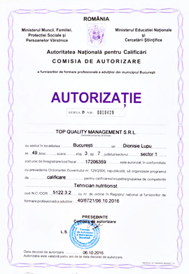 Cursuri Nutritionist autorizate ANC la Top Quality Management